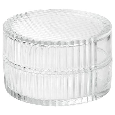SAMMANHANG Scatola in vetro con coperchio, vetro trasparente, 8 cm