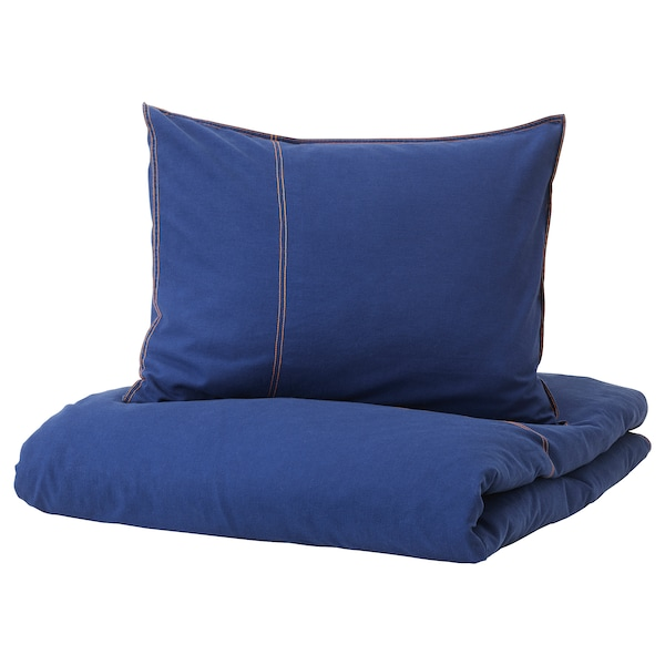 SÅNGLÄRKA Copripiumino e federa, blu scuro, 150x200/50x60 cm
