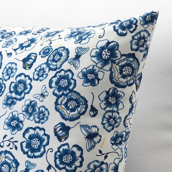 SÅNGLÄRKA Cuscino, fiore/blu bianco, 65x40 cm