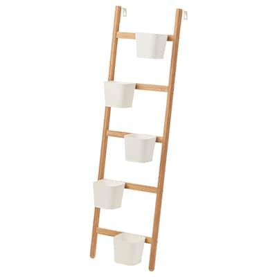 SATSUMAS Supporto da parete con 5 portavasi, bambù/bianco, 125 cm