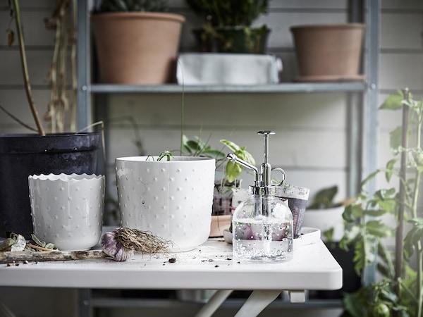 SESAMFRÖN Portavasi, da interno/esterno bianco sporco, 9 cm