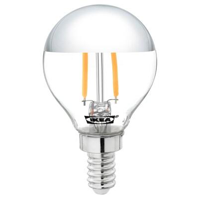 SILLBO Lampadina a LED E14 140 lumen, globo/calotta color argento, 45 mm