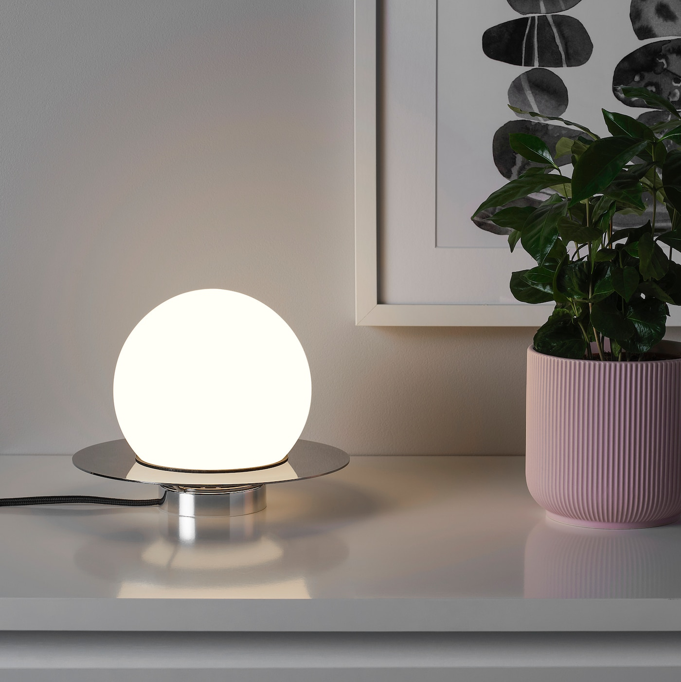 Simrishamn Lampada Da Tavolo Parete Cromato Bianco Opalino Vetro 16 Cm Ikea Svizzera
