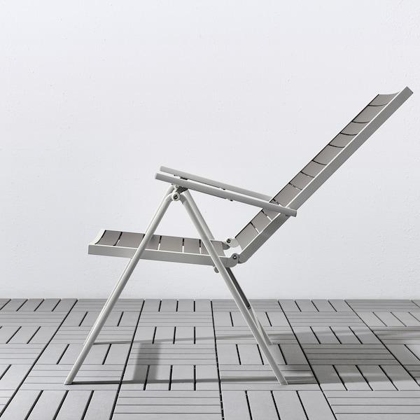 SJÄLLAND Sedia relax da giardino, grigio chiaro pieghevole/grigio scuro