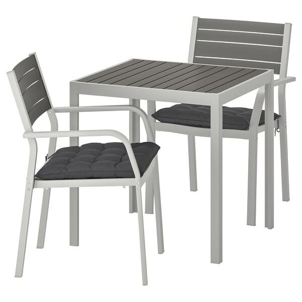 SJÄLLAND tavolo+2 sedie braccioli, giardino grigio scuro/Hållö nero 71 cm 71 cm 73 cm