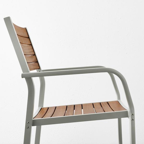 SJÄLLAND tavolo+4 sedie braccioli, giardino marrone chiaro/Kuddarna grigio 156 cm 90 cm 73 cm