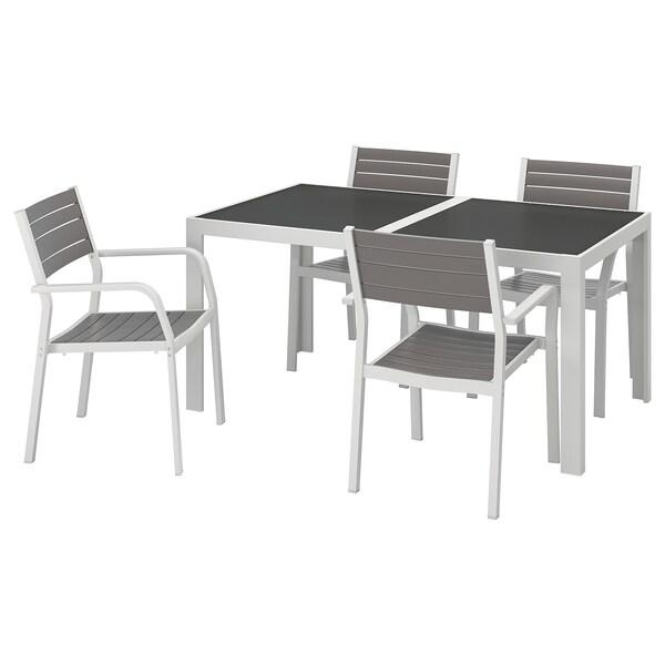 Ikea Tavoli E Sedie Per Giardino.Tavolo 4 Sedie Braccioli Giardino Sjalland Vetro Grigio Grigio Chiaro