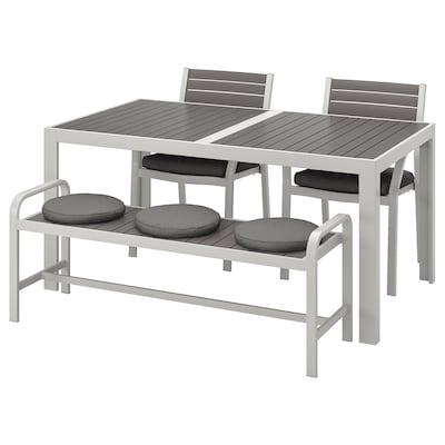 SJÄLLAND Tavolo+2 sedie+panca da giardino, grigio scuro/Frösön/Duvholmen grigio scuro, 156x90 cm