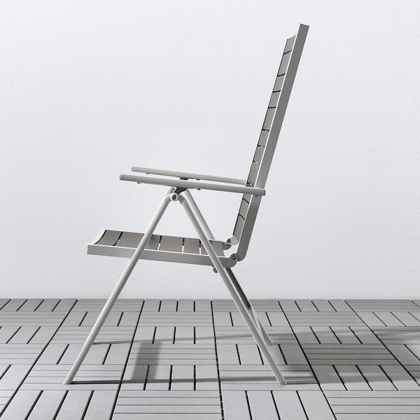 SJÄLLAND Tavolo+4 sedie relax, da giardino, grigio scuro/Frösön/Duvholmen beige, 156x90 cm