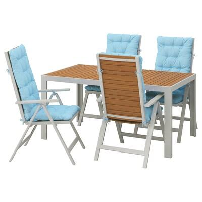 SJÄLLAND Tavolo+4 sedie relax, da giardino, marrone chiaro/Kuddarna azzurro, 156x90 cm