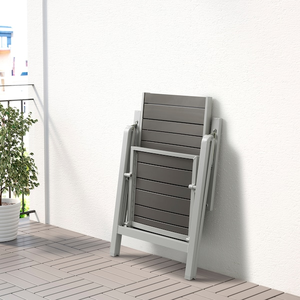 SJÄLLAND Tavolo+6 sedie relax, da giardino, grigio scuro/Kuddarna azzurro, 156x90 cm