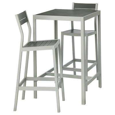 SJÄLLAND Tavolo e 2 sgabelli bar da esterno, grigio scuro/grigio chiaro