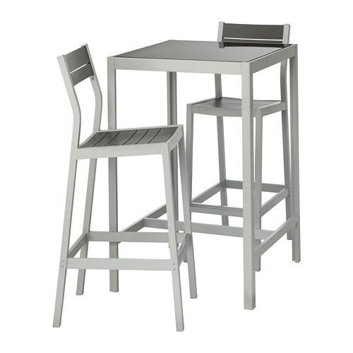 Piano Tavolo Vetro Ikea.Sjalland Tavolo E 2 Sgabelli Bar Da Esterno Vetro Grigio Grigio Chiaro