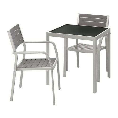 Piano Tavolo Vetro Ikea.Sjalland Tavolo 2 Sedie Braccioli Giardino Vetro Grigio Grigio Chiaro