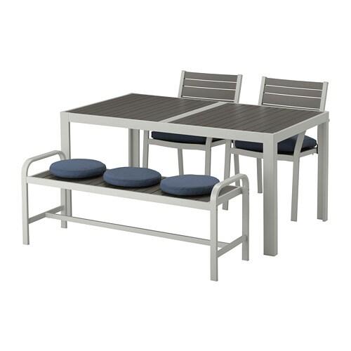 Ikea Sedie X Giardino.Sjalland Tavolo 2 Sedie Panca Da Giardino Sjalland Grigio Scuro