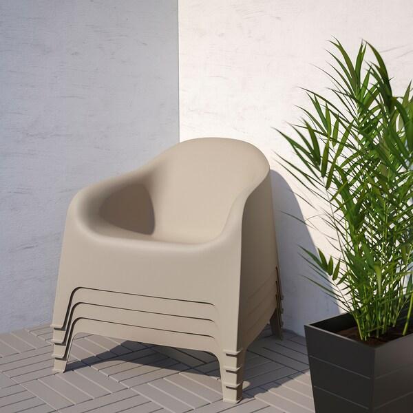 SKARPÖ Poltrona da giardino, beige scuro