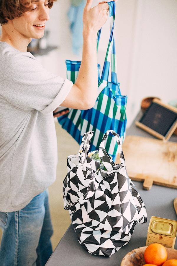 SKYNKE borsa portatutto nero/bianco 45 cm 36 cm