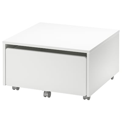 SLÄKT Contenitore con rotelle, bianco, 62x62x35 cm