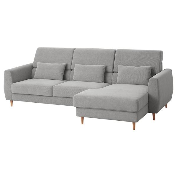 SLATORP Divano a 3 posti, con chaise-longue, destra/Tallmyra bianco/nero