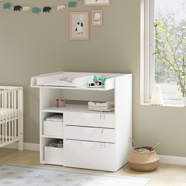 SMÅSTAD Fasciatoio, bianco rosa pallido/con 3 cassetti, 90x79x100 cm