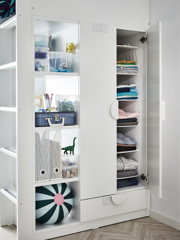 SMÅSTAD Letto a soppalco, bianco grigio/con scrivania con 3 cassetti, 90x200 cm