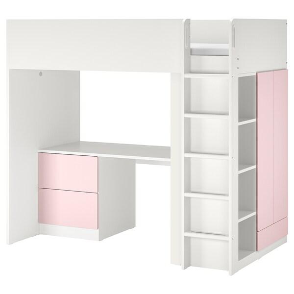 SMÅSTAD Letto a soppalco, bianco rosa pallido/con scrivania con 3 cassetti, 90x200 cm