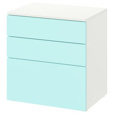 SMÅSTAD / PLATSA Cassettiera con 3 cassetti, bianco/turchese pallido, 60x42x63 cm
