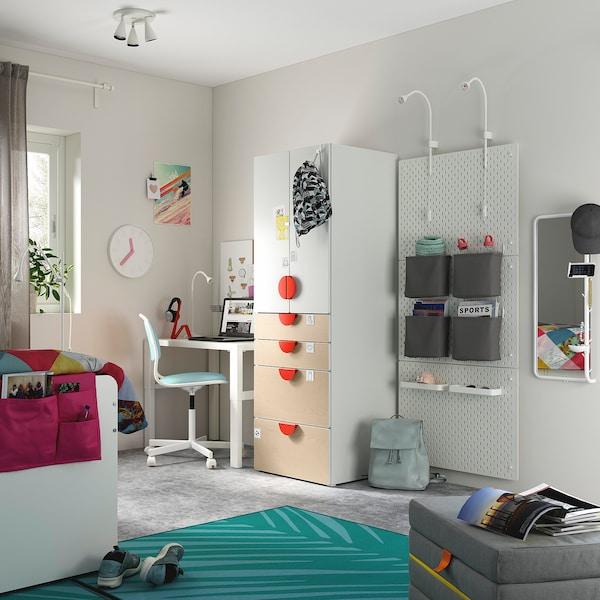 SMÅSTAD / PLATSA Guardaroba, bianco/betulla con 4 cassetti, 60x55x180 cm