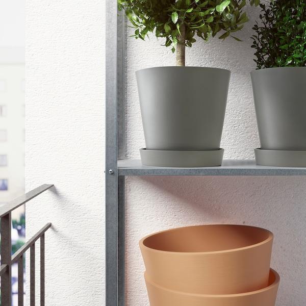 SMULGUBBE Vaso con sottovaso, effetto cemento/da esterno, 9 cm