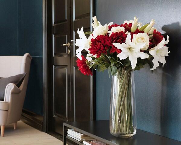 SMYCKA Fiore artificiale, Dalia/rosso, 75 cm