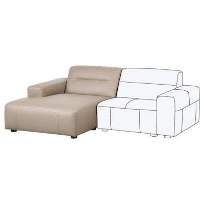 SNOGGE Chaise-longue, sinistro/Grann beige scuro