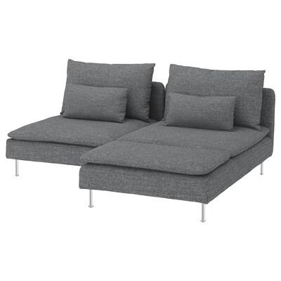 SÖDERHAMN Divano a 2 posti, con chaise-longue/Lejde grigio/nero