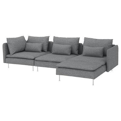 SÖDERHAMN Divano a 4 posti, con chaise-longue/Lejde grigio/nero