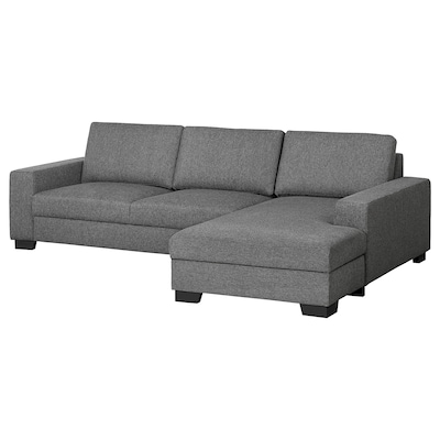 SÖRVALLEN Divano a 3 posti, con chaise-longue, destra/Lejde grigio scuro