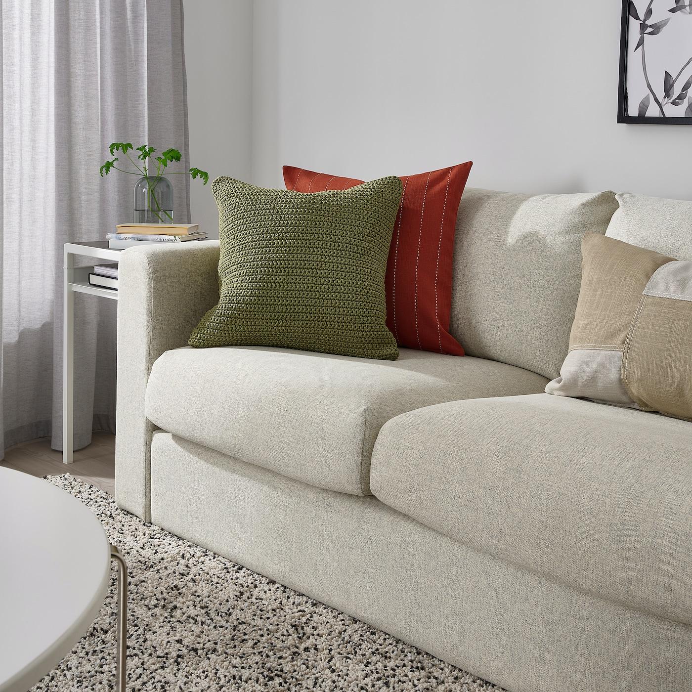 SÖTHOLMEN Fodera per cuscino, interno/esterno, beige-verde, 50x50 cm