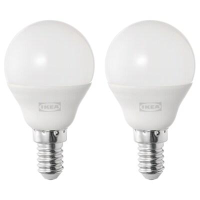 SOLHETTA Lampadina a LED E14 470 lumen, globo bianco opalino