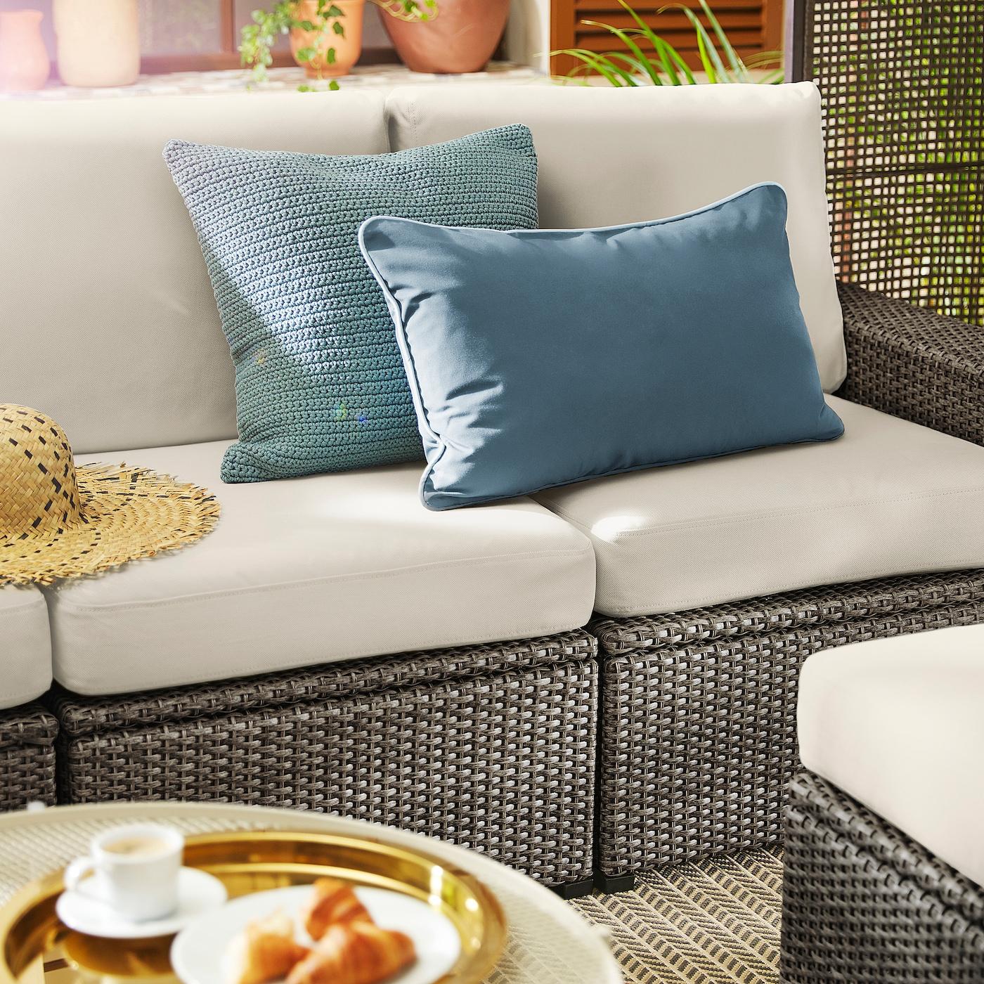 Cuscini Idrorepellenti Per Esterno sollerÖn divano componibile 3 posti, esterno - grigio scuro,  frösön/duvholmen beige 223x82x88 cm