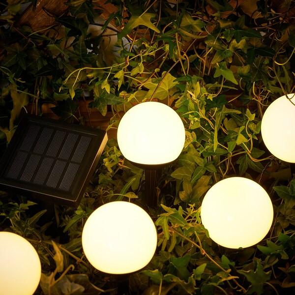 SOLVINDEN Illuminazione terra LED/ener solare, da esterno/5 steli bianco