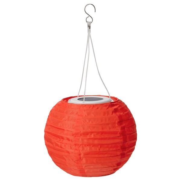 SOLVINDEN Lampada sospensione LED energia sol, da esterno/globo arancione, 22 cm