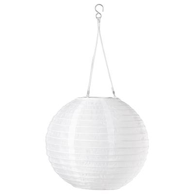 SOLVINDEN Lampada sospensione LED energia sol, da esterno/globo bianco, 30 cm