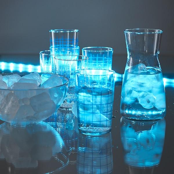 SPORADISK Bicchiere, vetro trasparente/a quadri, 46 cl