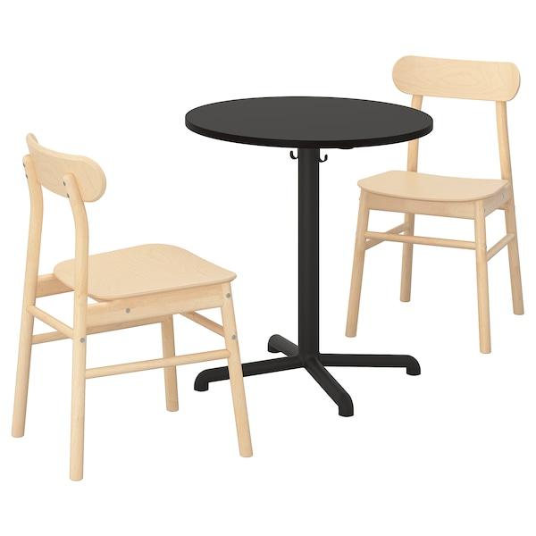 STENSELE / RÖNNINGE Tavolo e 2 sedie, antracite/antracite betulla, 70 cm