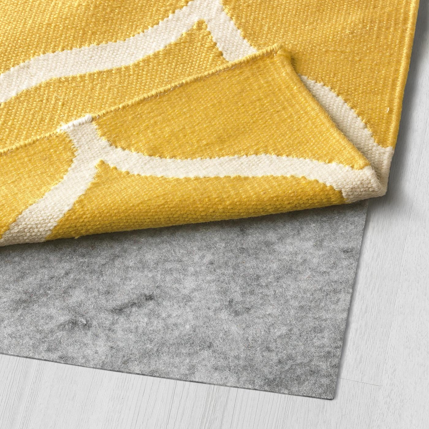 Lavare Tappeto Lana Ikea stockholm tappeto, tessitura piatta - motivo a rete fatto a mano, motivo a  rete giallo giallo 170x240 cm