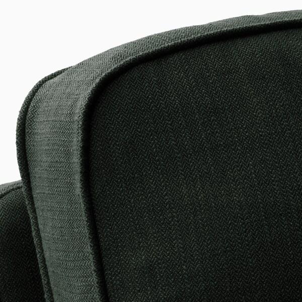 STOCKSUND Divano a 3 posti, Nolhaga verde scuro/marrone chiaro/legno