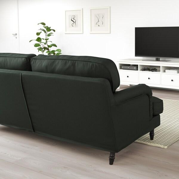 STOCKSUND Divano a 3 posti, Nolhaga verde scuro/nero/legno