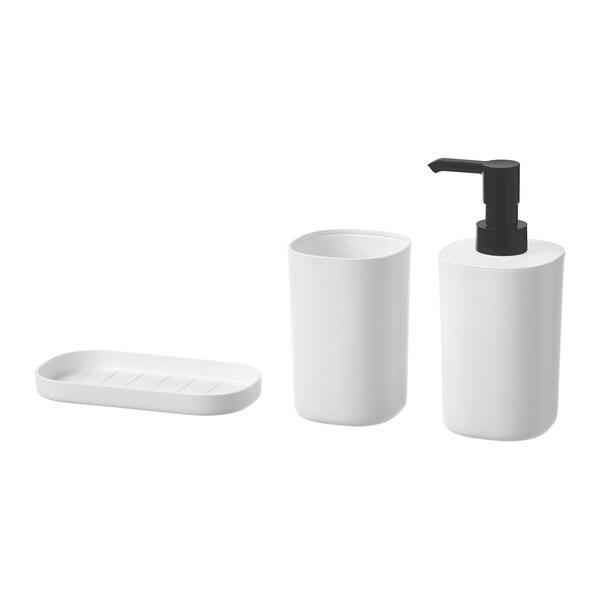 STORAVAN Set per bagno, 3 pezzi, bianco