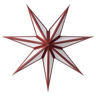 STRÅLA Paralume, rosso/bianco, 70 cm