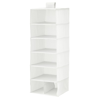 STUK Portatutto a 7 scomparti, bianco/grigio, 30x30x90 cm