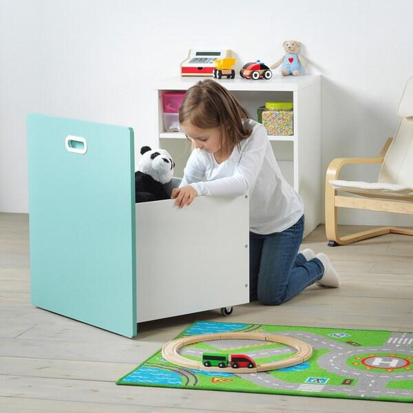 STUVA / FRITIDS Contenitore giocattoli con rotelle, bianco/azzurro, 60x50x64 cm