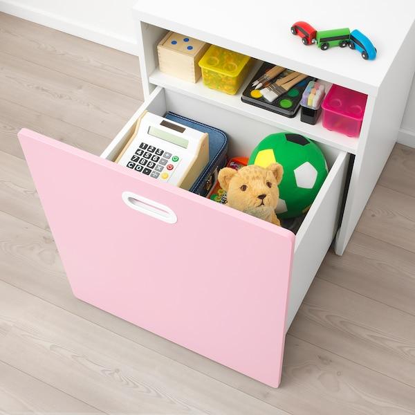 STUVA / FRITIDS Contenitore giocattoli con rotelle, bianco/rosa pallido, 60x50x64 cm